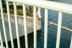 Railings channel. Channel bars white line outside Royalty Free Stock Photo
