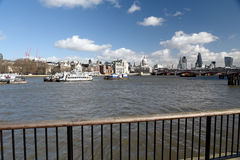 Railings on path on South Bank of River Thames Stock Photography