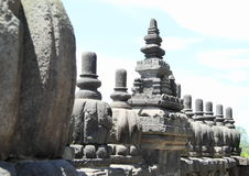 Railings on Prambanan. Railings of ancient hinduist temple Prambanan (Java, Indonesia Stock Photos