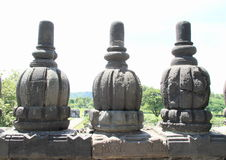 Railings on Prambanan. Railings of ancient hinduist temple Prambanan (Java, Indonesia Royalty Free Stock Image