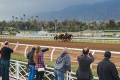Railirds and horse racing near finish line Royalty Free Stock Photo