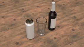 Raillez de la bouteille à bière, de la boîte et d'un verre vide illustration libre de droits