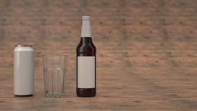 Raillez de la bouteille à bière, de la boîte et d'un verre vide illustration de vecteur
