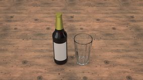 Raillez de la bouteille à bière et d'un verre vide illustration de vecteur