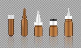 Raillez vers le haut d'Amber Cosmetic Serum réaliste, ampoule, bouteilles de compte-gouttes d'huile réglées pour l'illustration d illustration de vecteur