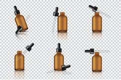 Raillez vers le haut d'Amber Dropper ou de la bouteille transparente réaliste de pipette pour l'illustration de fond d'huile esse illustration de vecteur