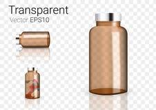 Raillez vers le haut d'Amber Glass Transparent Packaging Product réaliste pour le fond cosmétique de bouteille de beauté ou de mé Photo stock