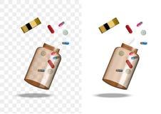 Raillez vers le haut d'Amber Glass Transparent Packaging Product réaliste pour le fond d'isolement par bouteille cosmétique de be illustration stock