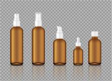 Raillez vers le haut d'Amber Transparent Glass Cosmetic Soap, du shampooing, de la crème, du compte-gouttes réaliste d'huile et d illustration libre de droits
