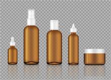 Raillez vers le haut d'Amber Transparent Glass Cosmetic Soap, du shampooing, de la crème, du compte-gouttes réaliste d'huile et d illustration de vecteur
