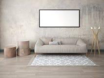 Raillez vers le haut d'un salon classique avec un sofa à la mode illustration de vecteur