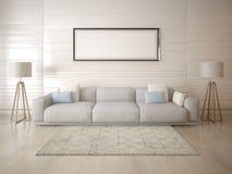 Raillez vers le haut d'un salon spacieux sur un fond clair image stock