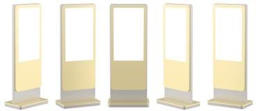 Raillez vers le haut de cinq affichages noirs de l'information Supports de bannière dans votre conception rendu 3d illustration stock