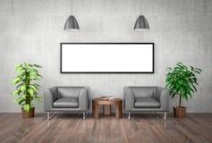 Raillez vers le haut de l'affiche sur le mur en béton, l'illustration 3d Image libre de droits