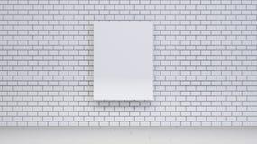 Raillez vers le haut de l'affiche sur le mur de briques avec des livres, le rendu 3d Photo libre de droits
