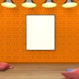 Raillez vers le haut de l'affiche vide de livre blanc au mur orange et au rendu en bois du plancher 3D Image stock