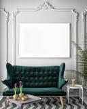 Raillez vers le haut de l'affiche vide sur le mur du salon de vintage, illustration libre de droits
