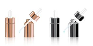 Raillez vers le haut des bouteilles réalistes et du compte-gouttes de Rose Gold Pastel Cosmetic Product réglés pour l'illustratio illustration de vecteur