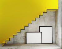 Raillez vers le haut des cadres d'affiche à l'arrière-plan intérieur avec des escaliers, Images stock