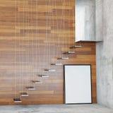 Raillez vers le haut du cadre d'affiche à l'arrière-plan intérieur avec des escaliers, Image stock