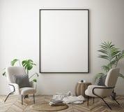Raillez vers le haut du cadre d'affiche à l'arrière-plan intérieur de hippie, le style scandinave, 3D rendent Photo libre de droits