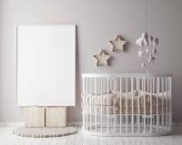 Raillez vers le haut du cadre d'affiche chez la pièce des enfants avec la décoration de christamas, fond intérieur de style scand Image libre de droits