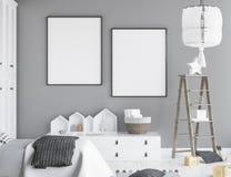 Raillez vers le haut du cadre d'affiche chez la pièce des enfants, fond scandinave d'intérieur de style illustration libre de droits