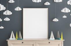 Raillez vers le haut du cadre d'affiche chez la pièce des enfants, fond scandinave d'intérieur de style Images libres de droits