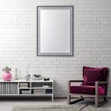 Raillez vers le haut du cadre d'affiche dans le fond de hippie et le mur de briques intérieurs, l'illustration 3D Photographie stock libre de droits