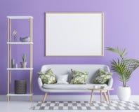 Raillez vers le haut du cadre d'affiche dans l'appartement minimaliste moderne, 3D rendent Photographie stock libre de droits