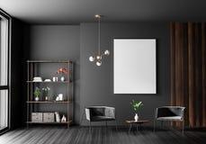 Raillez vers le haut du cadre d'affiche dans l'intérieur scandinave de hippie de style Conception intérieure moderne minimaliste  photos stock