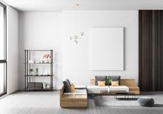 Raillez vers le haut du cadre d'affiche dans l'intérieur scandinave de hippie de style Conception intérieure moderne minimaliste  photos libres de droits