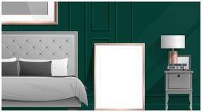 Raillez vers le haut du cadre d'affiche dans la chambre à coucher, fond intérieur Photo libre de droits