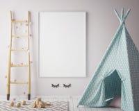 Raillez vers le haut du cadre d'affiche dans la chambre de hippie, le fond intérieur de style scandinave, 3D rendent Images stock