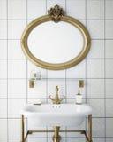 Raillez vers le haut du cadre d'affiche dans la salle de bains de hippie de vintage, fond intérieur, Photographie stock libre de droits