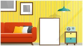 Raillez vers le haut du cadre d'affiche dans le salon, fond intérieur Photographie stock libre de droits
