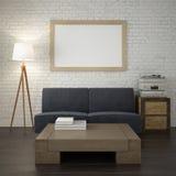 Raillez vers le haut du cadre d'affiche sur le mur de briques blanc du salon Image stock