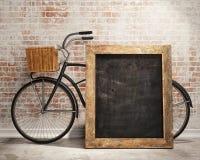 Raillez vers le haut du conseil noir à l'arrière-plan intérieur de grenier avec la bicyclette illustration de vecteur