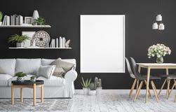 Raillez vers le haut du fond intérieur de cadre d'affiche, style scandinave Photographie stock