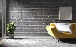Raillez vers le haut du mur de briques noir avec le plancher en béton a le sofa et les usines rendu 3d illustration stock