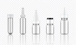 Raillez vers le haut du sérum cosmétique transparent réaliste, ampoule, bouteilles de compte-gouttes d'huile réglées pour l'illus illustration stock