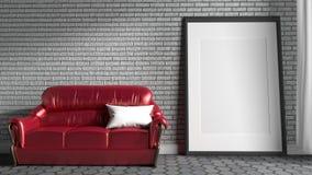 Raillez vers le haut du sofa rouge dans un salon avec le fond blanc de mur de briques rendu 3d illustration de vecteur