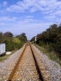Raillroad adentro al infinito Imagen de archivo