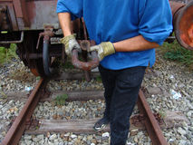 Railroad 024. A railroad worker at his job. Okt. 06 stock images