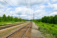 Railroad. Tracks in nature. Horizontal Stock Images