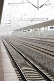 Railroad. Of high speed in China,empty and straight Royalty Free Stock Photo
