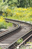 Railroad. Curved railroad of eno-den Stock Image