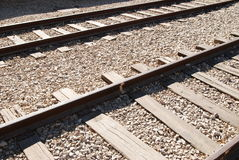 Railroad. Two railroad tracks on a rock ground Stock Photography