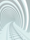 Railroad. Abstract architectural background. 3d railroad tunnel Stock Photos
