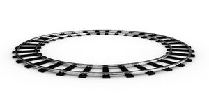 The railroad. The railway for a train closed in a ring on a white background Stock Image
